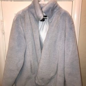 Baby blue faux fur coat